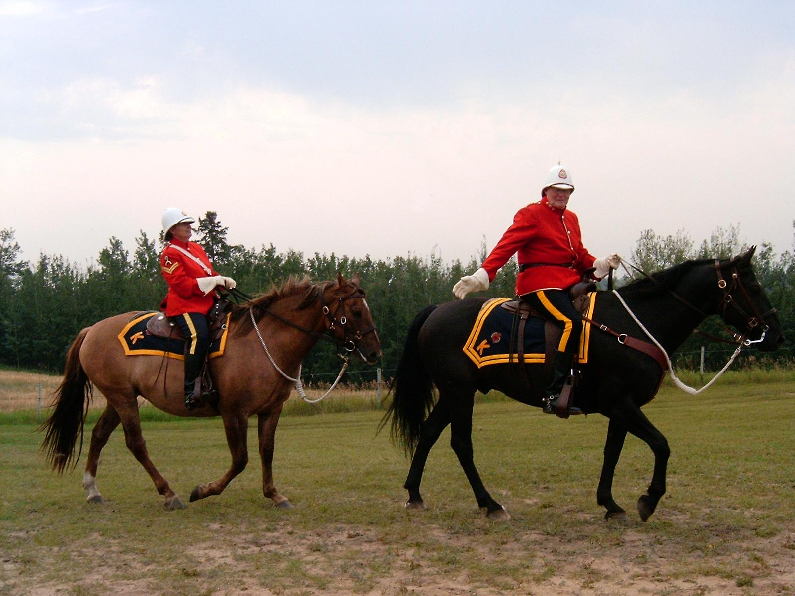 North West Mounted Police Drawing Reenactors Portraying The Nwmp