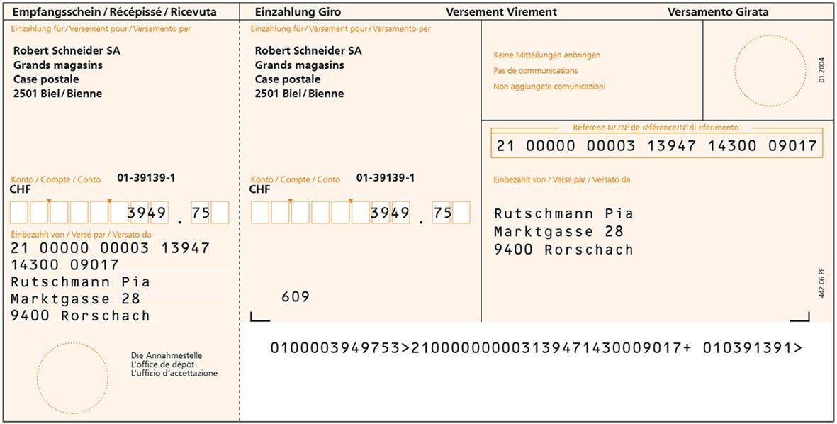 Einzahlungsschein Schweiz Wikipedia