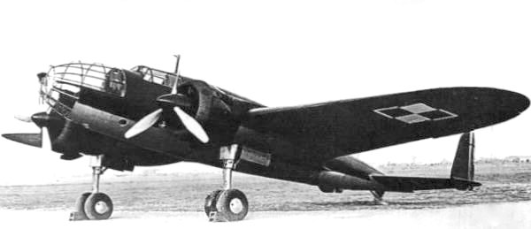A Polish PZL.37 Łoś medium bomber aircraft