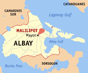 Map of Albay showing the location of Malilipot