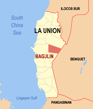 Map of La Union showing the location of Bagulin