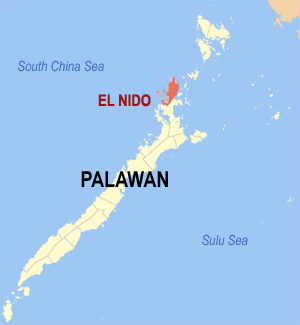 Map of Palawan showing the location of El Nido