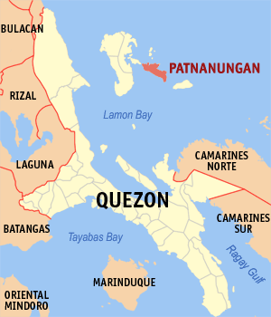 Map of Quezon showing the location of Patnanungan