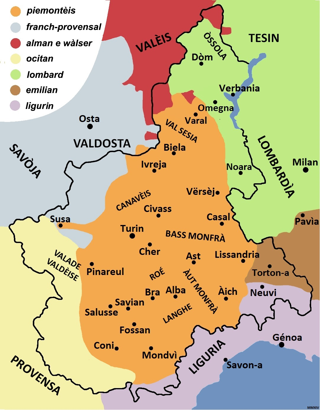 Linguistic Map of Piemontèis
