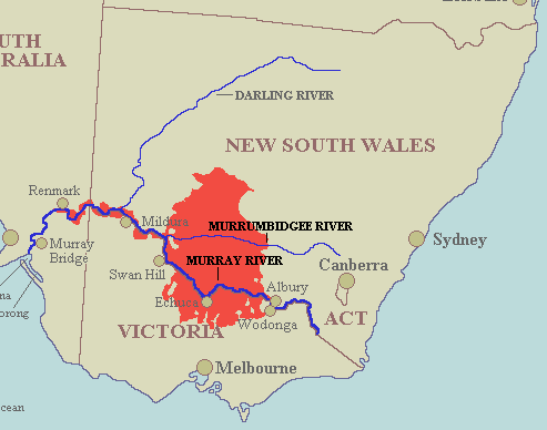 The Riverina bioregion. The Riverina bioregion covers much of the area commonly known as the Riverina but also takes in area as far south as Bendigo and as far north as Ivanhoe. Riverina bioregion.png