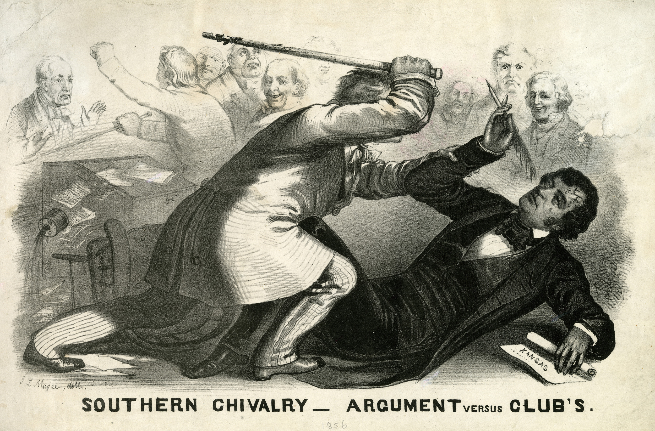 A lithograph cartoon depicting Preston Brooks' attack on Charles Sumner in the U.S. Senate chamber.
