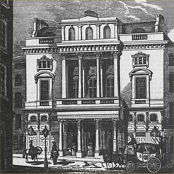 old drawing of exterior of neo-classical building