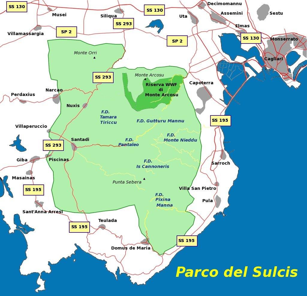 Cartina Di Uta Sardegna.Parco Del Sulcis Wikipedia
