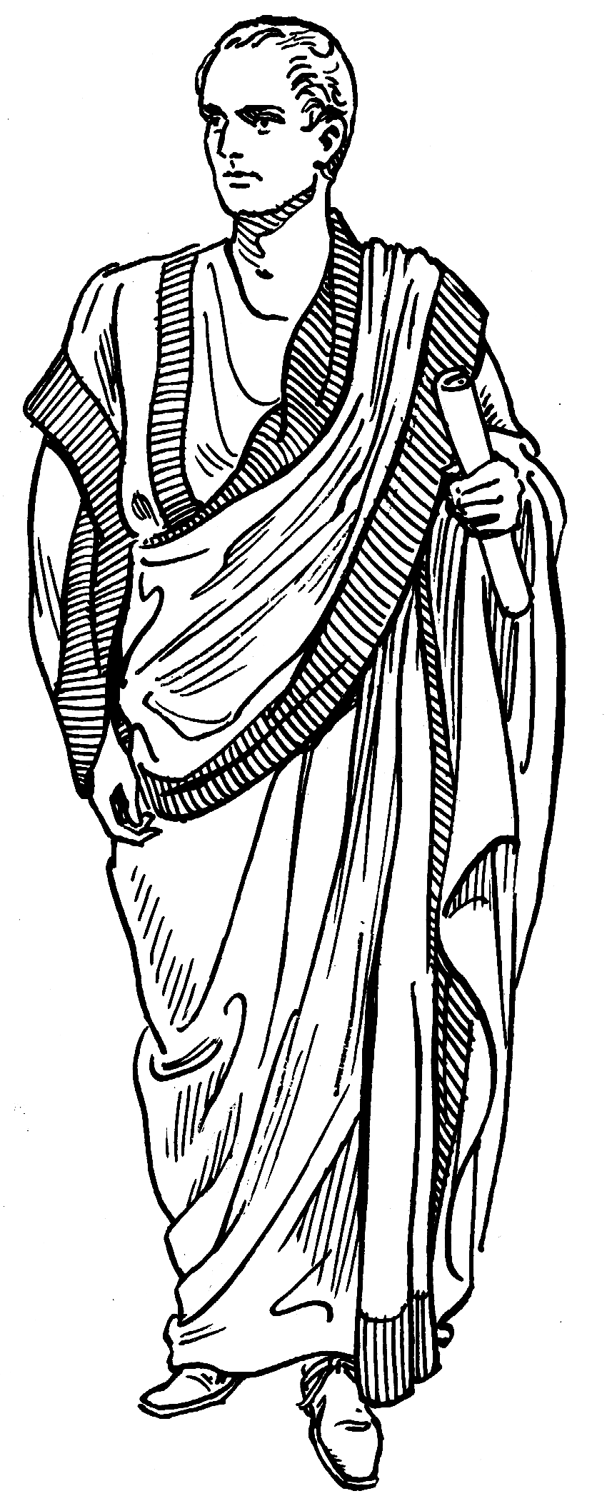 Line art drawing of a man in a toga.