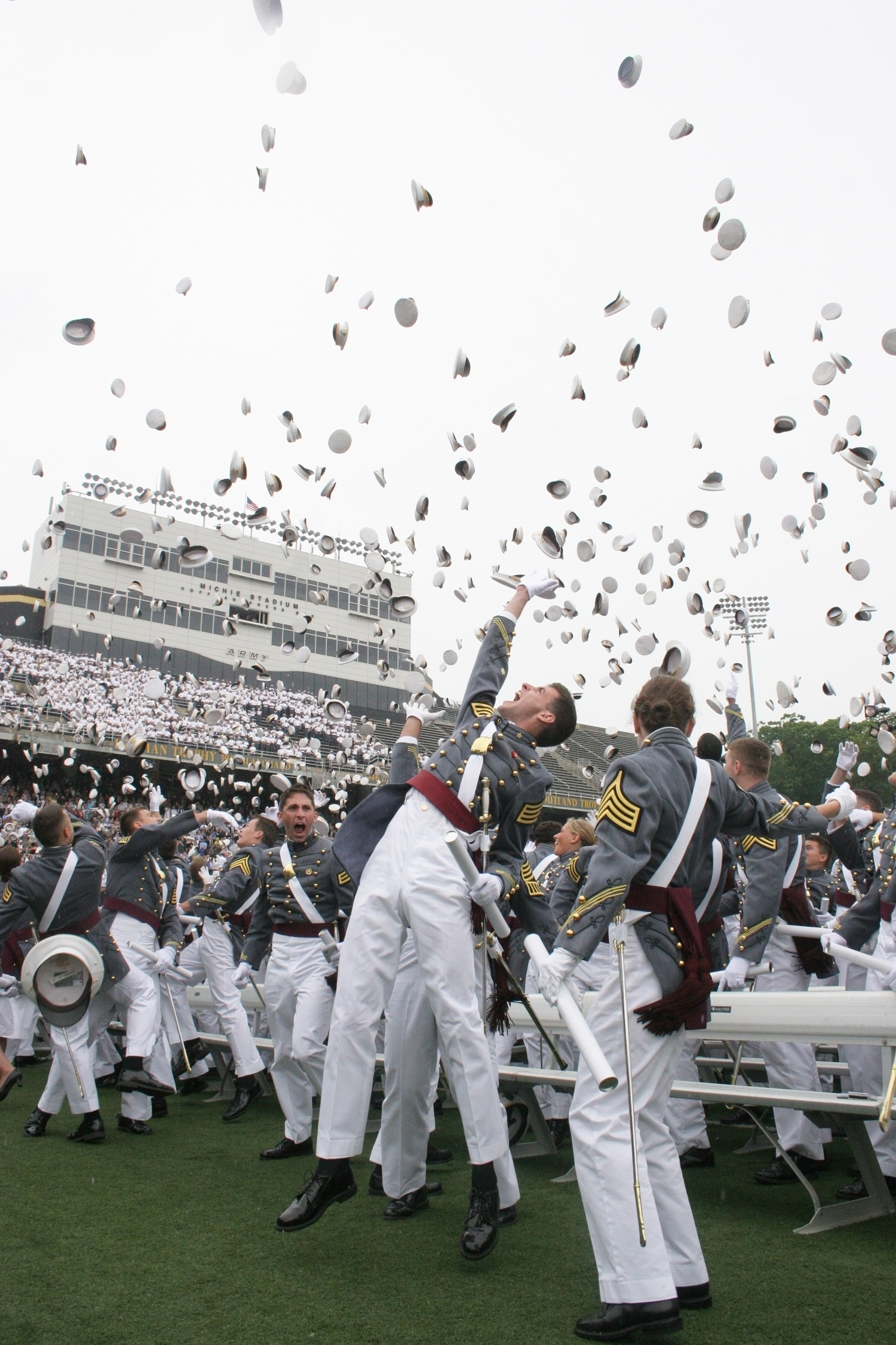 The West Point Class of 2008 toss their hats a...