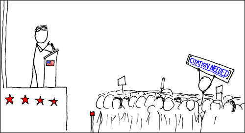 "Stick figure cartoon of politician speaking to crowd, person holding sign that reads ""citation needed"""