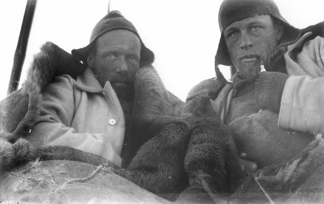 Wild and Watson in sleeping bag tent on sledge journey.jpg