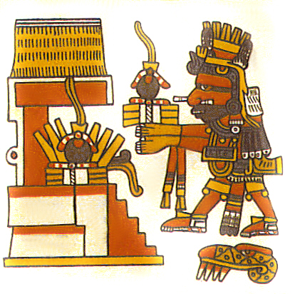 In this detail from the late 15th century Codex Borgia, the Aztec god Xiuhtecuhtli brings a rubber ball offering to a temple. The balls each hold a quetzal feather, part of the offering. Xiuhtecuhtli, Codex Borgia, 14, w rubber balls offering.jpg