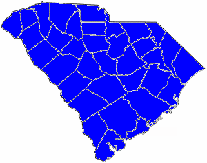1892 South Carolina gubernatorial election map, by percentile by county.   65+% won by Tillman