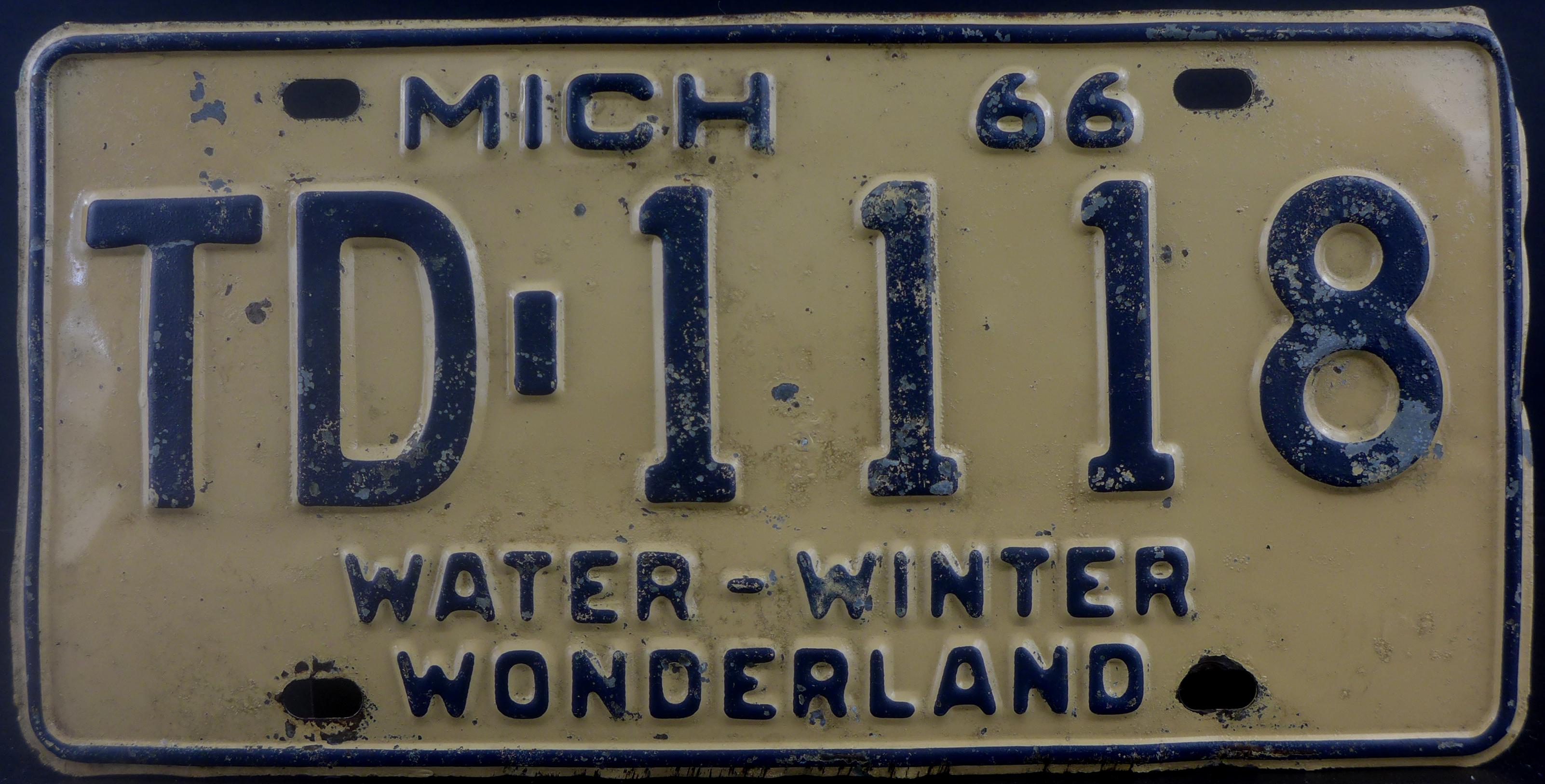 File:1966 Michigan License Plate.jpg - Wikimedia Commons