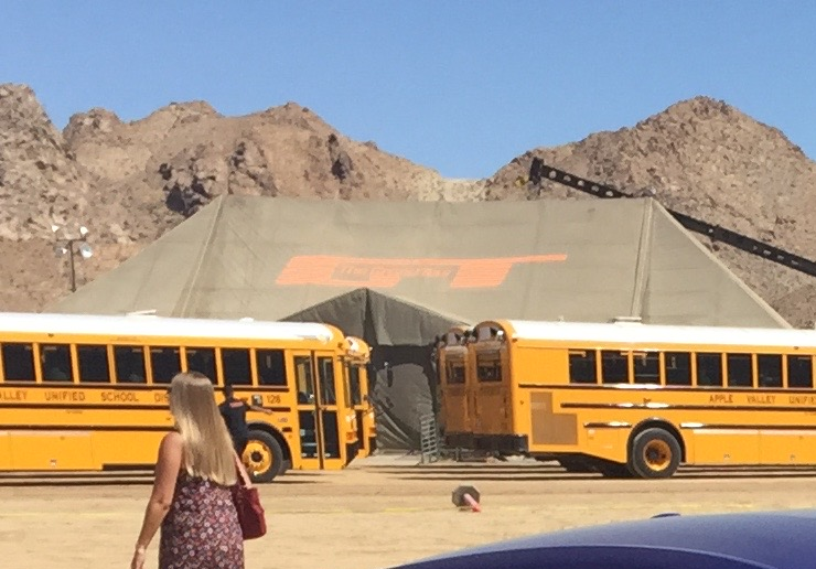 The Grand Tour Tent Behind School Buses In The Lucerne Valley California For The First Episode Of Series