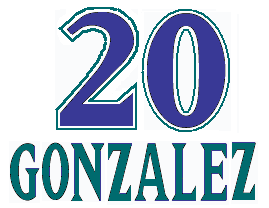 "A purple numeral ""20"" with ""GONZALEZ"" written in green below it."