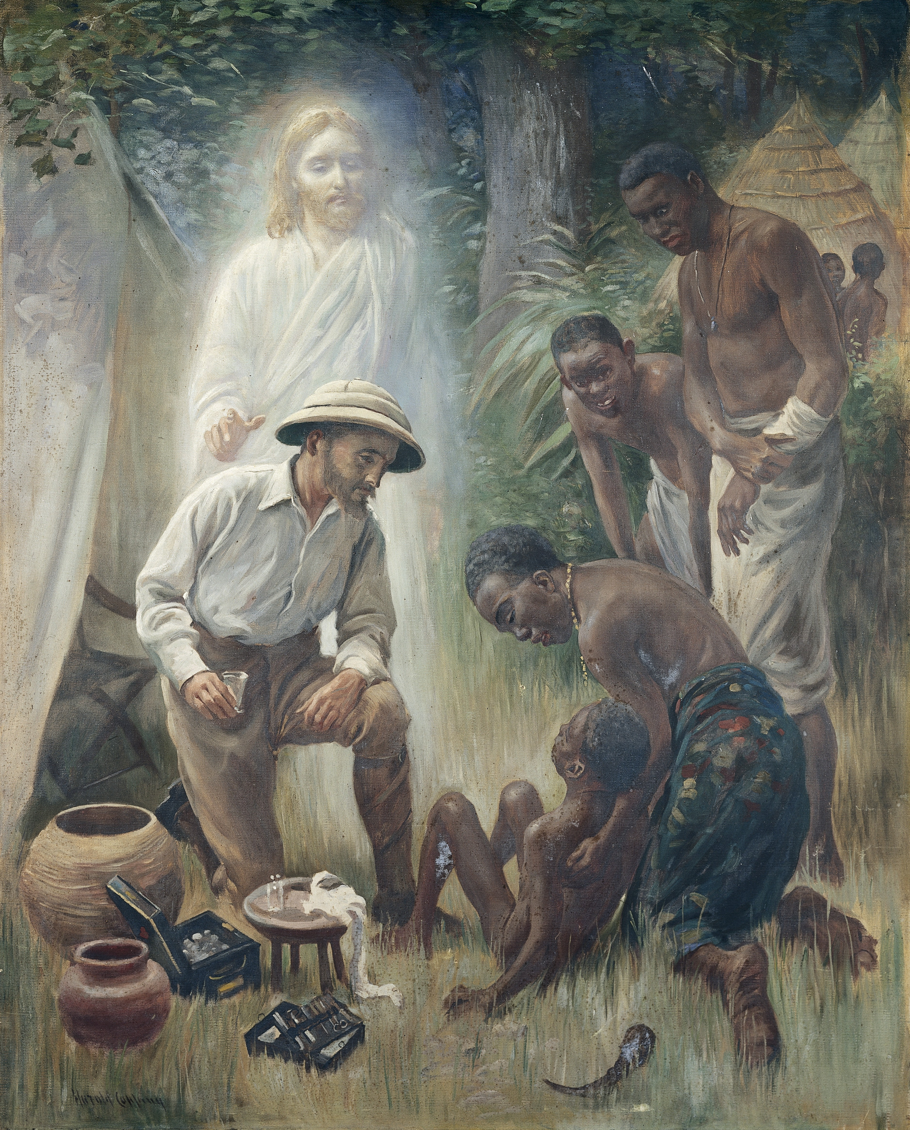 Medical Missionary attending a sick African