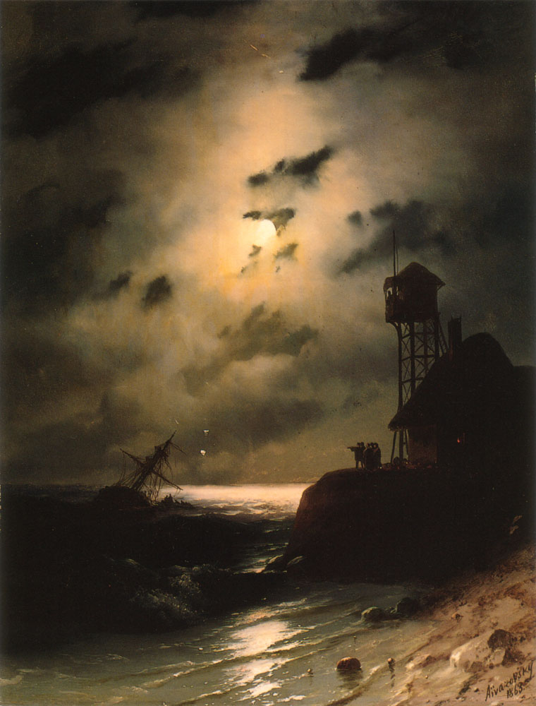 Nocturnal - the best nocturne paintings: Ivan Aivazovsky, Moonlight Seascape with Shipwreck,