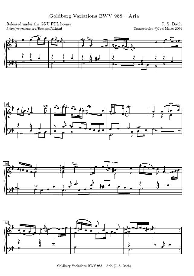&quot;Aria&quot; de las <em>Variaciones Goldberg</em>, mostrando el uso de ornamentos de Bach.