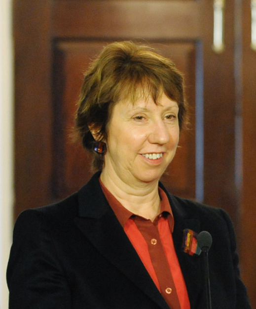 Catherine Ashton  - 2021 Dark brown hair & Bun hair style.