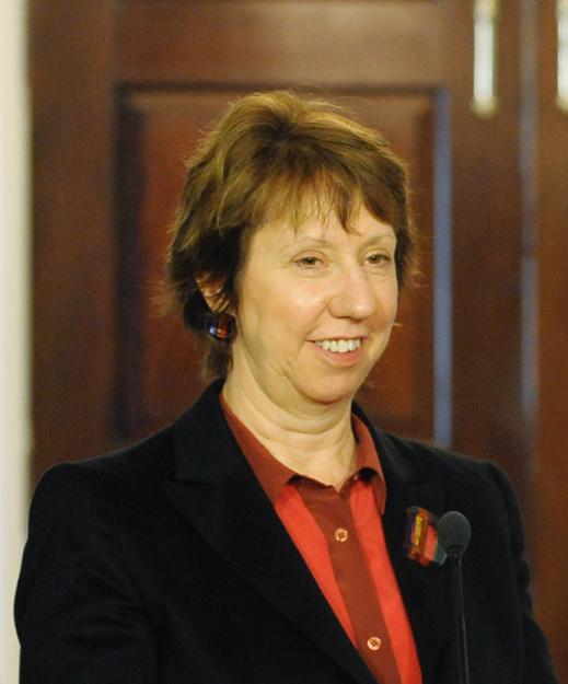 Catherine Ashton 2019 Dunkelbraun Haar & Haarknoten Haarstil.