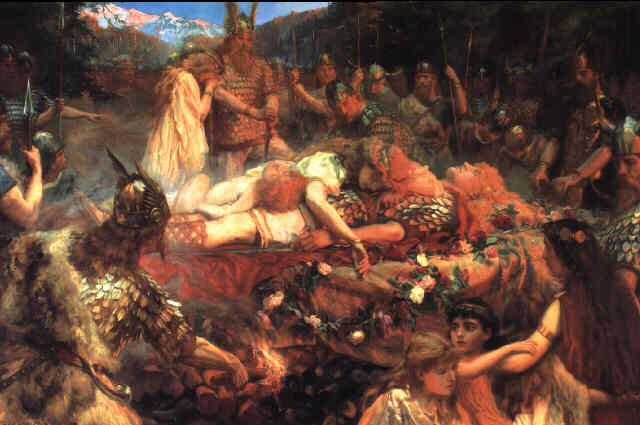 Death of a viking warrior, by Charles Earnest Butler, 1909
