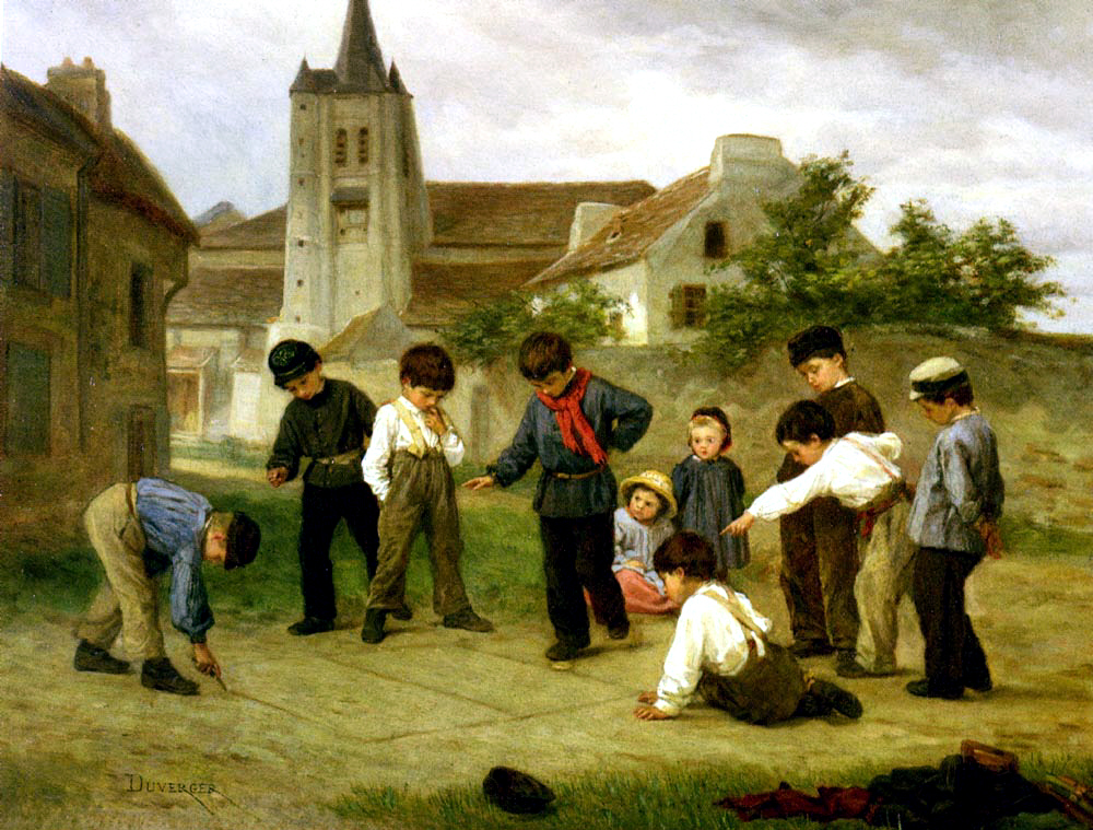 An image of a painting in which boys play hopscotch.