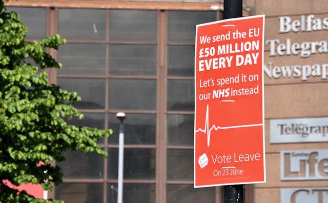 EU referendum leave poster, Belfast, June 2016 - geograph.org.uk - 4990237