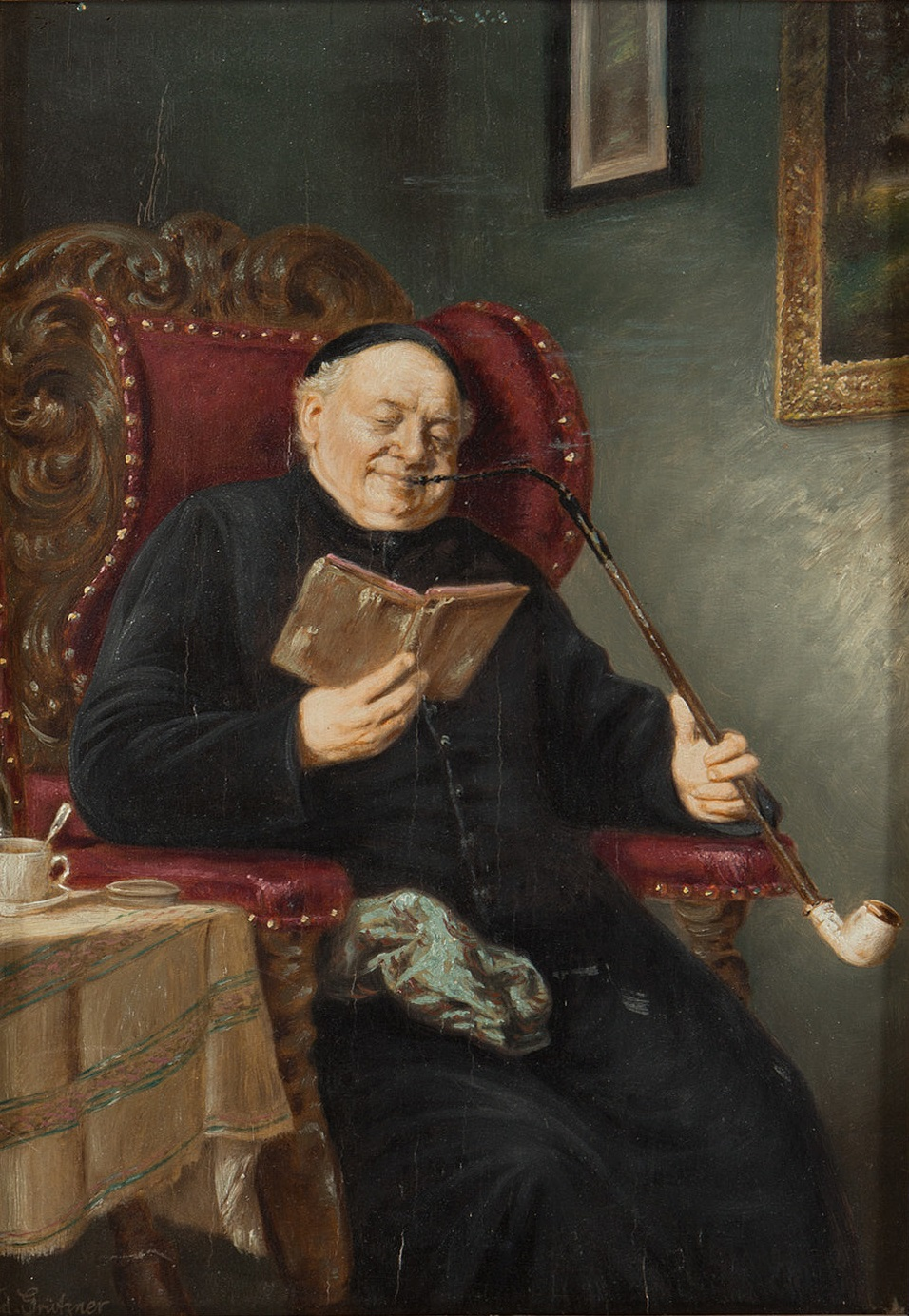 File:Eduard von Grützner Pipe-smoking priest.jpg - Wikimedia Commons