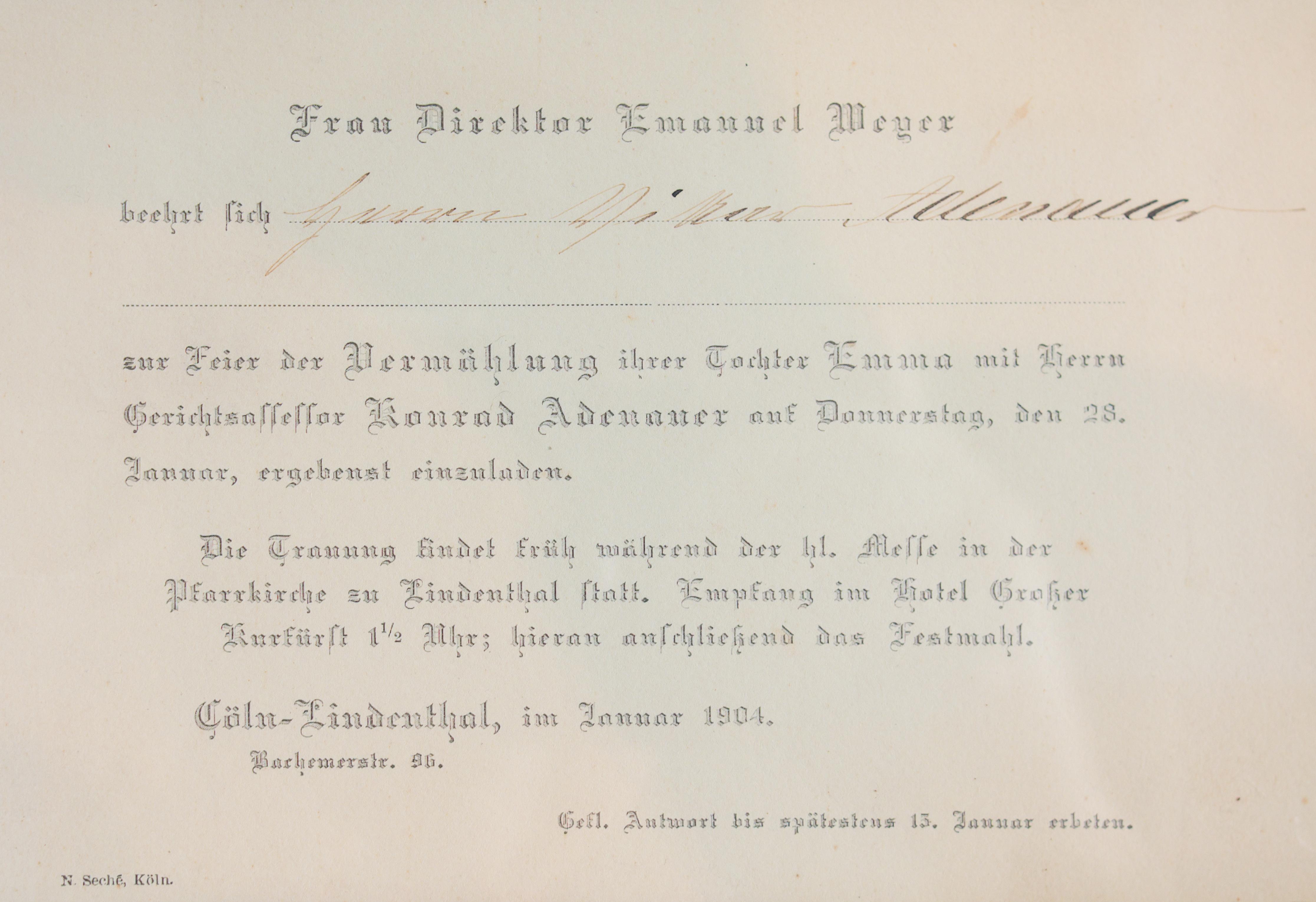 File Einladung Hochzeit Emma Weyer Konrad Adenauer 5939 Cropped