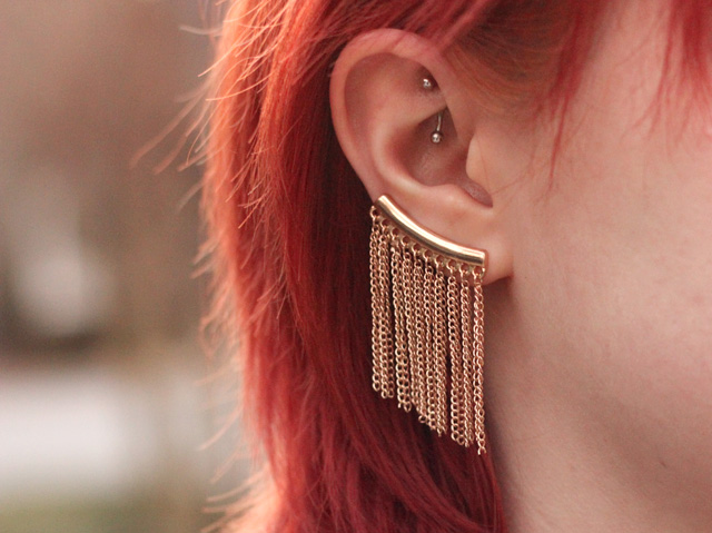 Gold Fringe Ear Cuff and a Rook Piercing