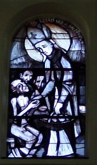 Martin Häusle: Glassmaleri av den hellige Eberhard i sognekirken i Liesing