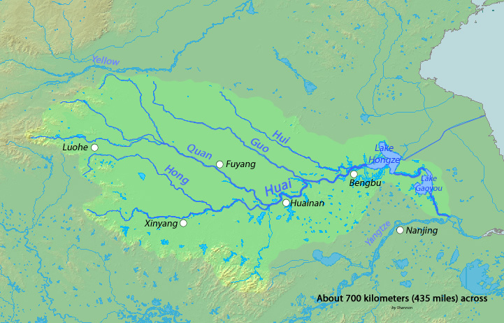 Huai River (which itself is a tributary of the Yangtze River)  and tributaries .