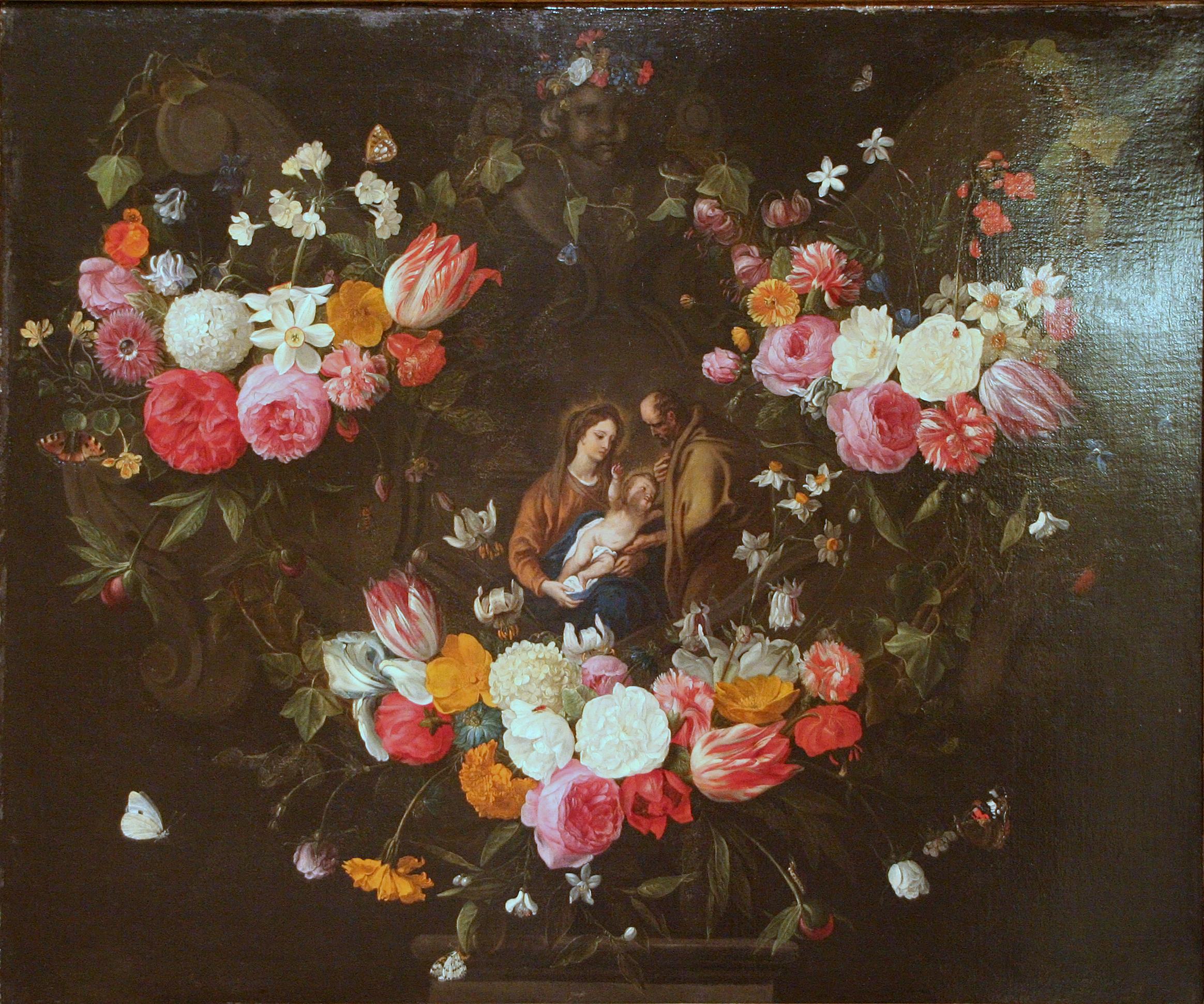 File jan van kessel i guirlande de fleurs avec la sainte famille jpg wi - Guirlandes de fleurs ...