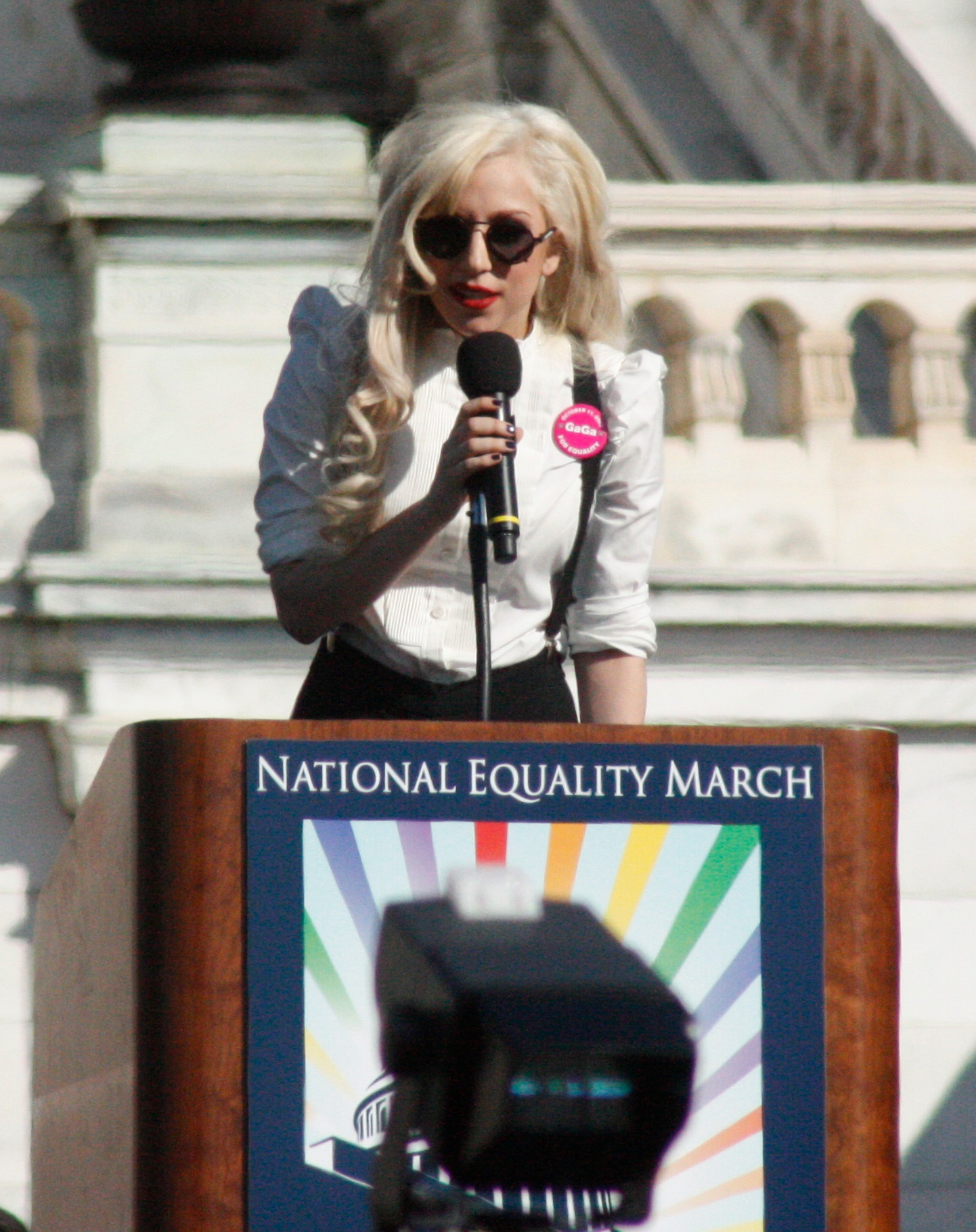 English: Lady Gaga holding a speech at Nationa...