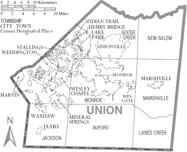 Marshville Nc Map.File Map Of Union County North Carolina With Municipal And Township