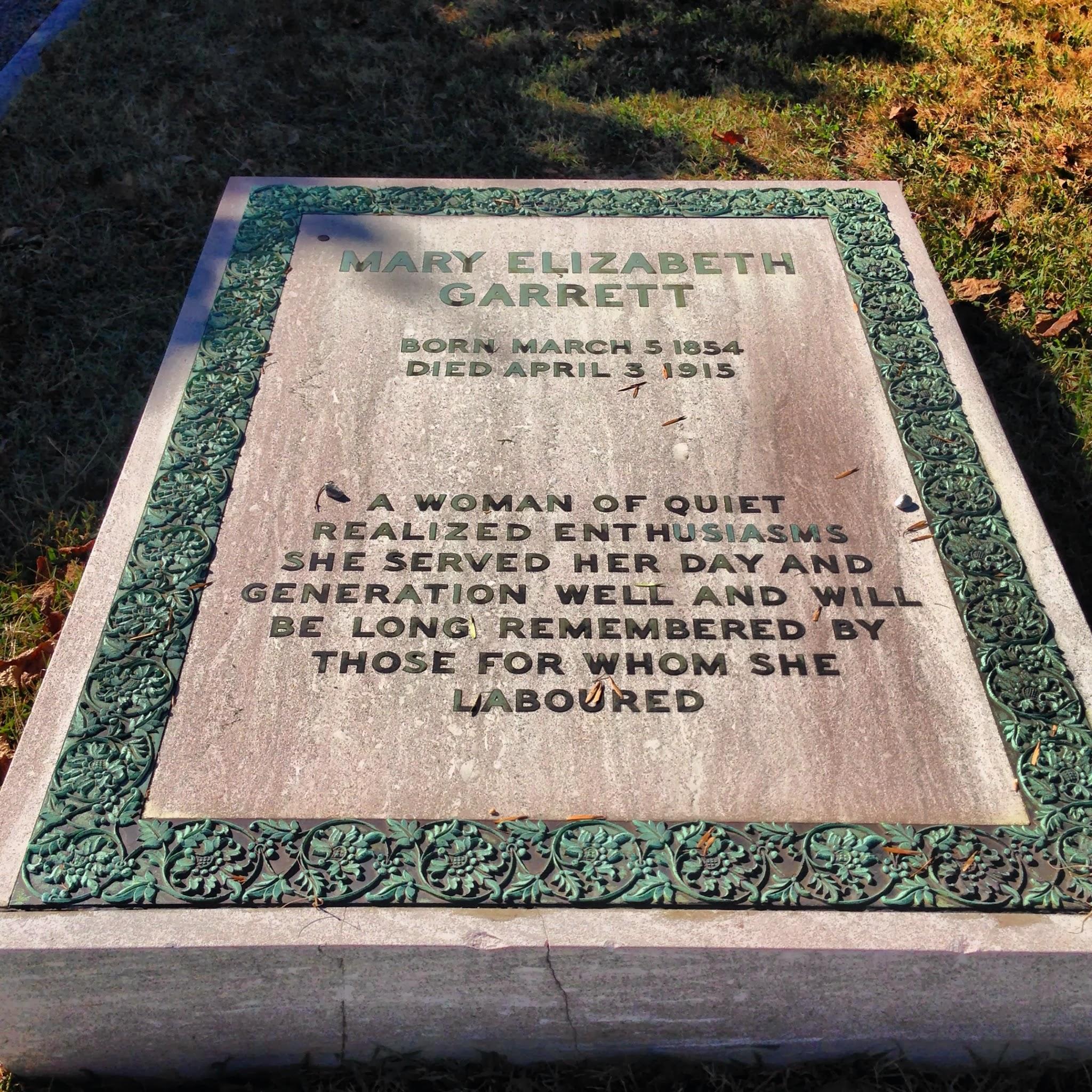 Gravesite of Mary Garrett in Baltimore's Green Mount Cemetery