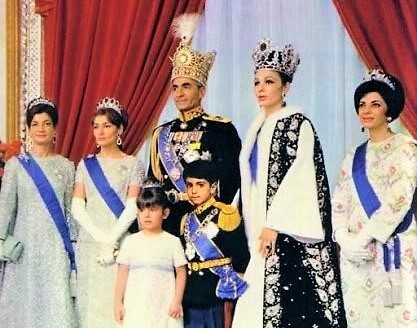Mohammad Reza Pahlavi and the Imperial Family during the coronation ceremony of the Shah of Iran in 1967 Mohammad Pahlavi Coronation (cropped version).jpg