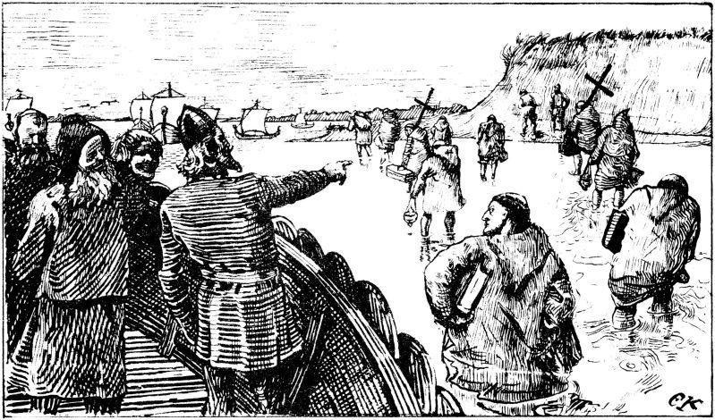 c°)Adaptation à de nouveaux préceptes religieux et culturels dans 2°) Expansion viking par des raids et commerce Olav_Tryggvasons_saga_-_Haakon_jarl_2_-_C._Krohg