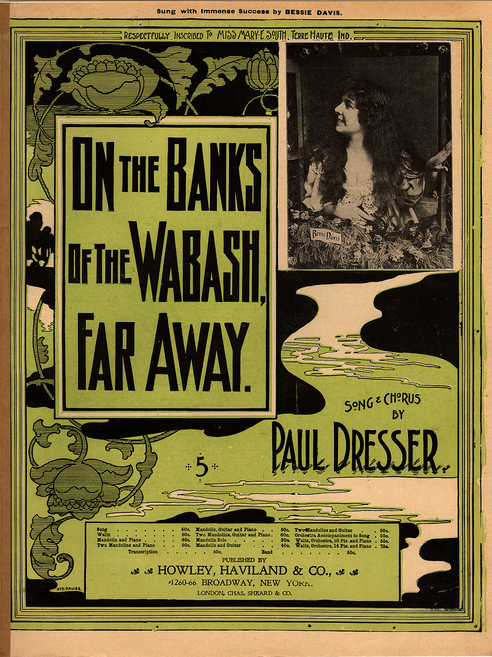 File:On the Banks of the Wabash, Far Away, sheet music cover with ...