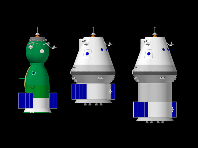 From the left to the right, the Soyuz spacecraft, ACTS for low Earth orbit missions, ACTS for lunar orbit missions.