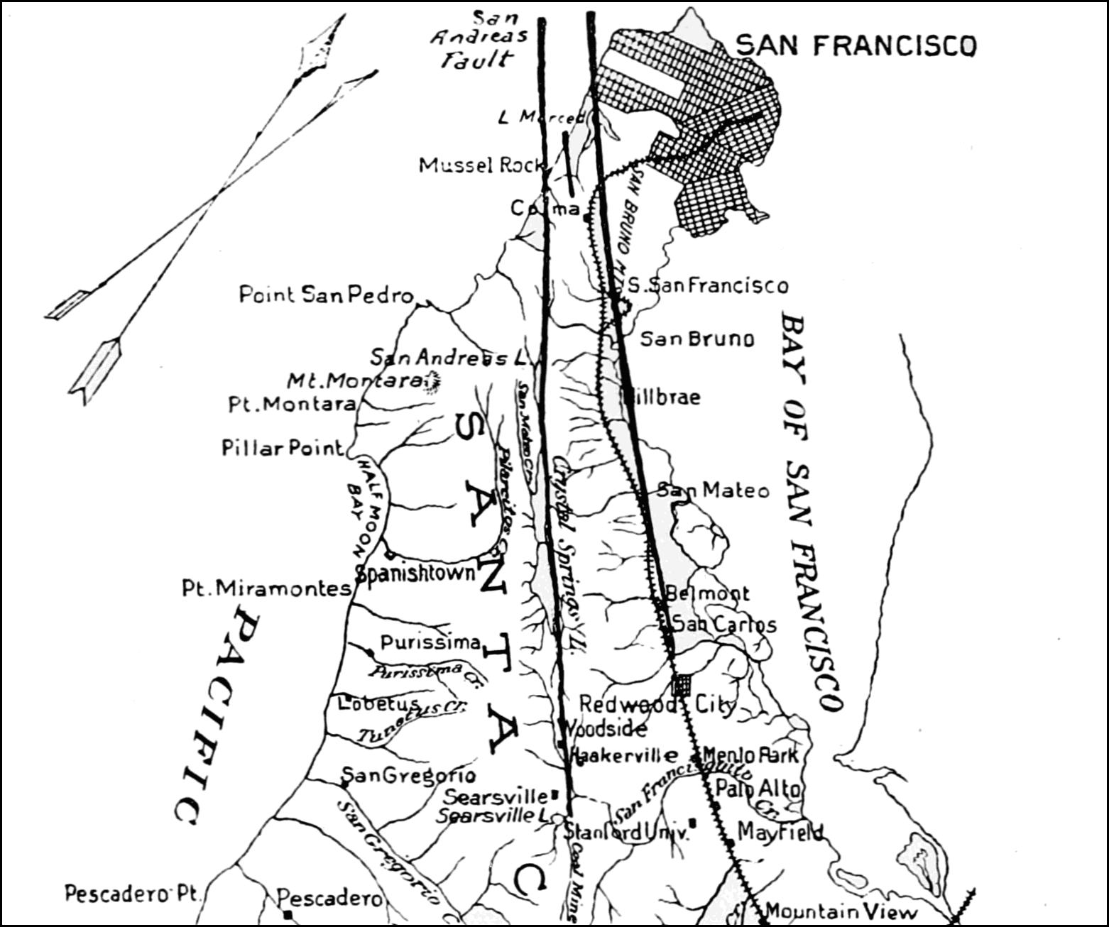 PSM V69 D074 San francisco peninsula north showing the three faults.png