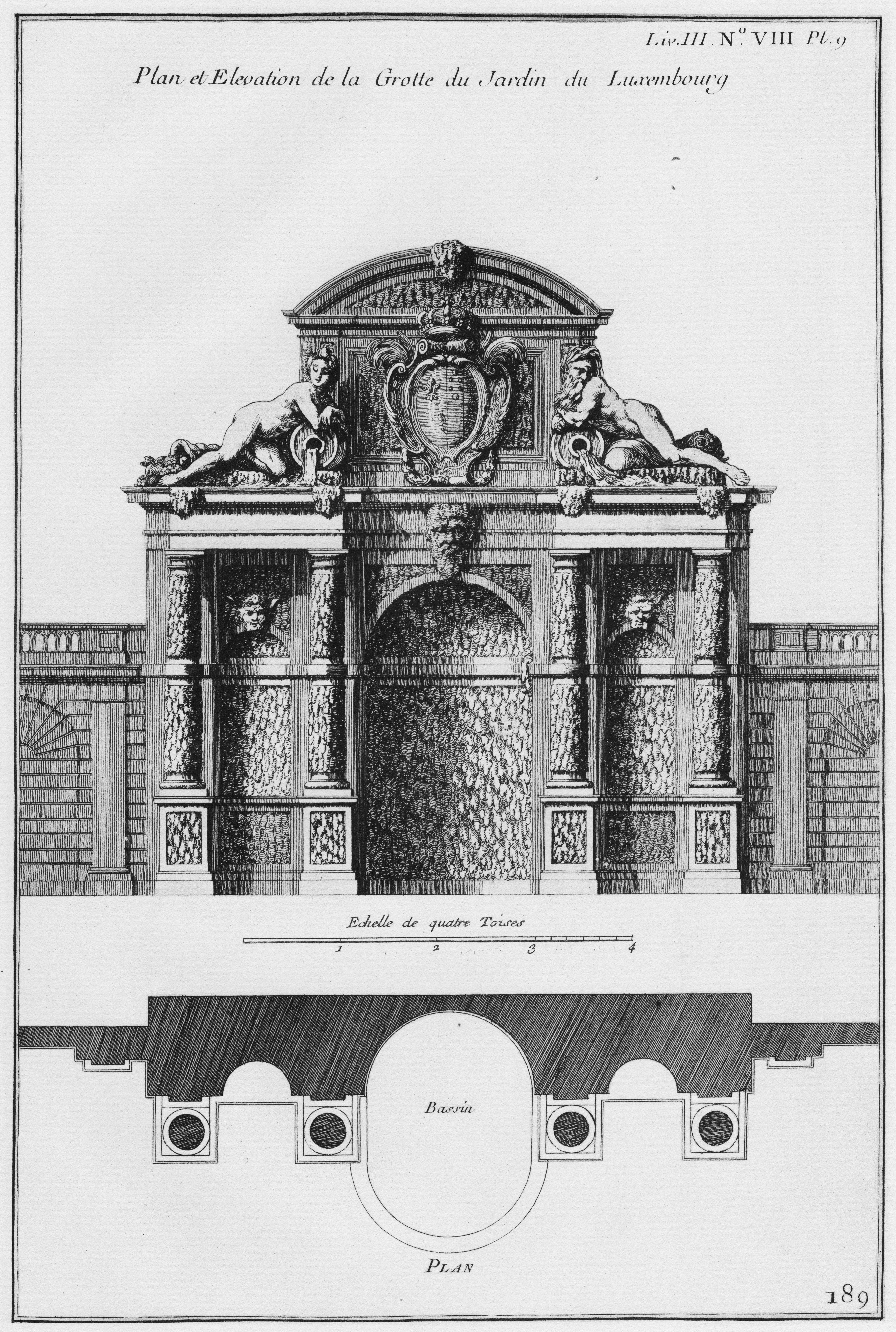 File palais du luxembourg plan et l vation de la grotte for Architecture de jardin