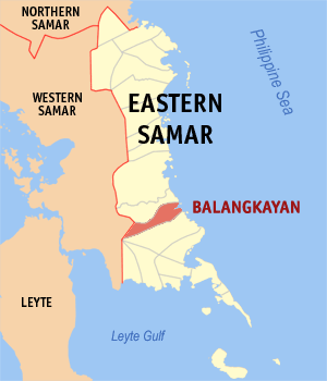 Map of Eastern Samar showing the location of Balangkayan
