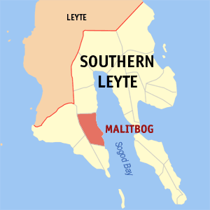 Map of Southern Leyte showing the location of Malitbog