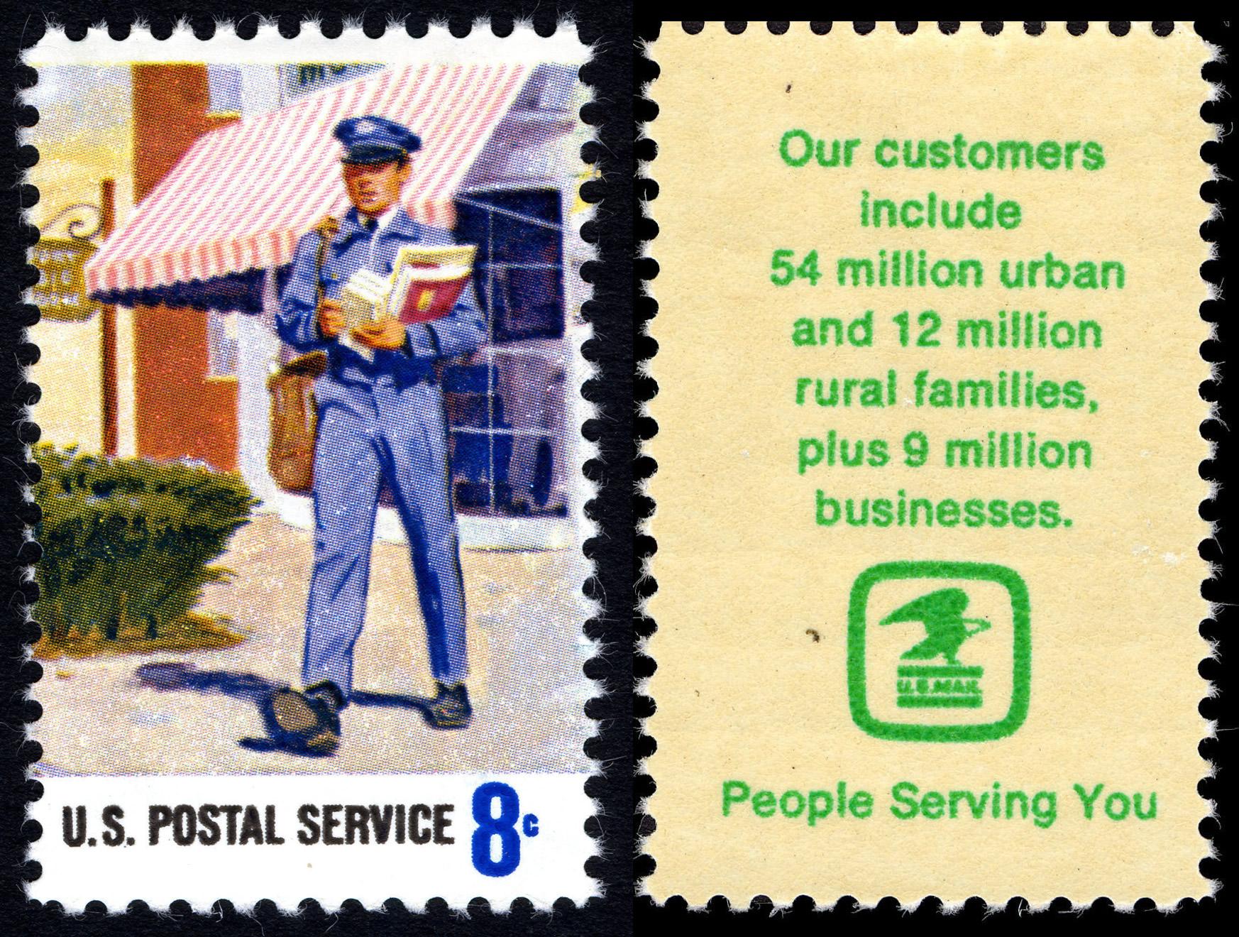 File:Postal Service Employees   Mailman   8c 1973 Issue U.S. Stamp