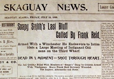 Skagway newspaper announcing Smith's death