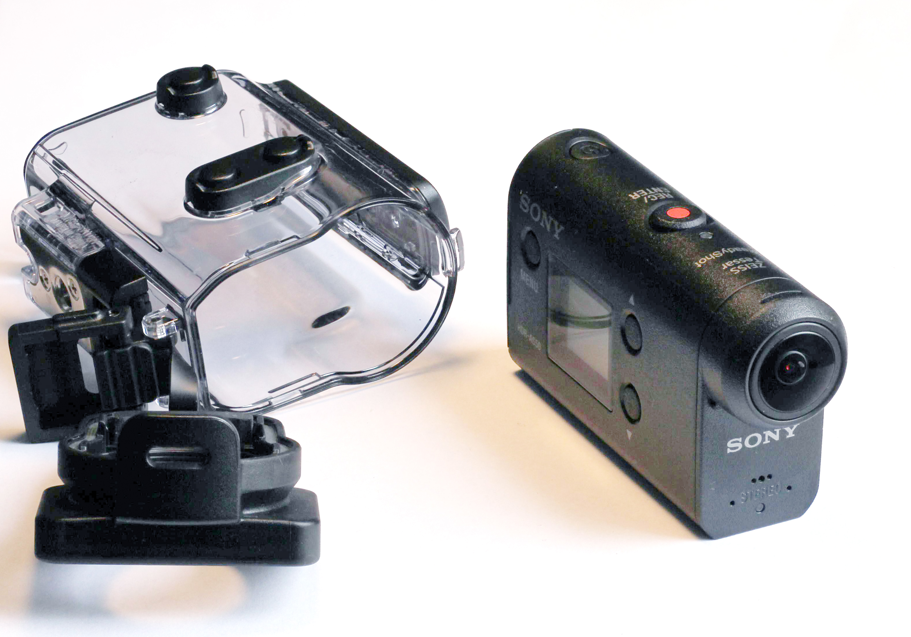 A Sony Action-camera with underwater housing