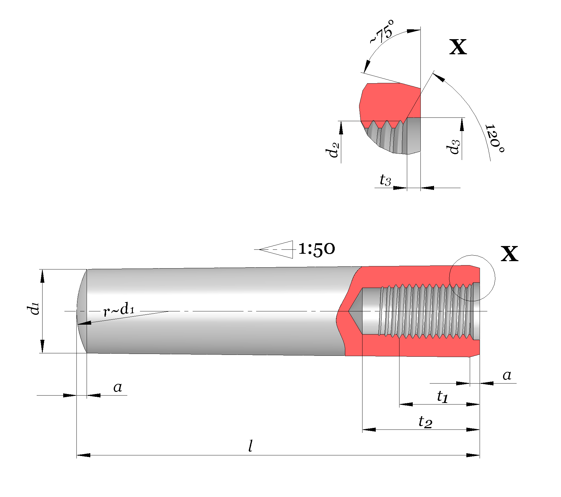 File Taper pin internal thread